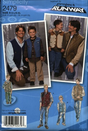 Simplicity Sewing Pattern 2479 Boys Mens Size S-L--S-XL Project Runway Zipper Button Front Vests