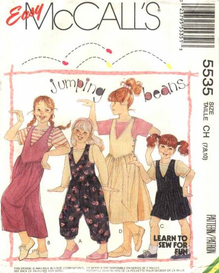 McCall�s Sewing Pattern 5535 Girls Size 7-10 Easy Jumpsuit Romper Jumper Long short Sleeve T-Shirt