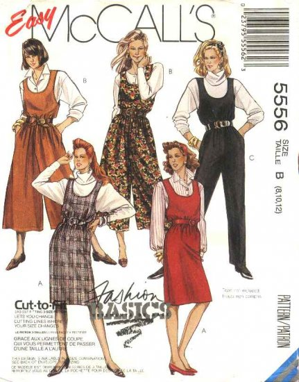 McCall�s Sewing Pattern 5556 M5556 Misses Size 8-12 Easy Straight Split Skirt Jumpers Jumpsuit