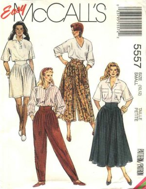 McCall�s Sewing Pattern 5557 Misses Size 10-12 Easy Pants Skirt Split-Skirt Gauchos Culottes