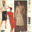 McCall's Sewing Pattern 8965 Misses Size 16 Easy Fit Straight Tucked Front Dress Lined Jacket