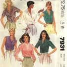 McCall's Sewing Pattern 7931 Misses Size 14 Button Front Blouses Shirts Tops Sleeve Variations