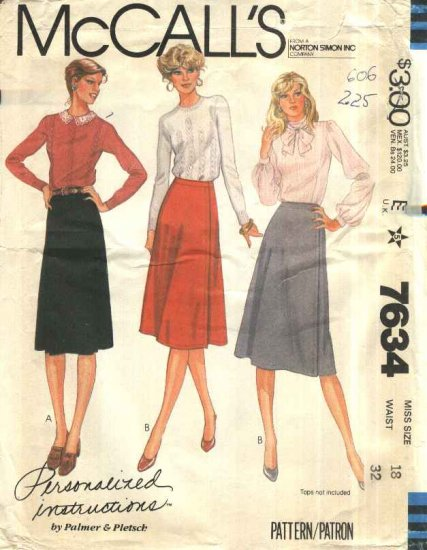 McCall�s Sewing Pattern 7634 Misses Size 18 Classic Wrap Front A-Line Skirts Palmer Pletsch