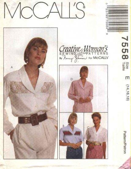 McCall�s Sewing Pattern 7558 Misses Size 14-16-18 Nancy Zieman Blouses Decorative Front Insert