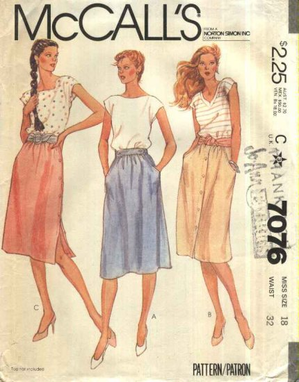 McCall�s Sewing Pattern 7076 Misses Size 18 Classic Softly Gathered Skirts Side Front Button