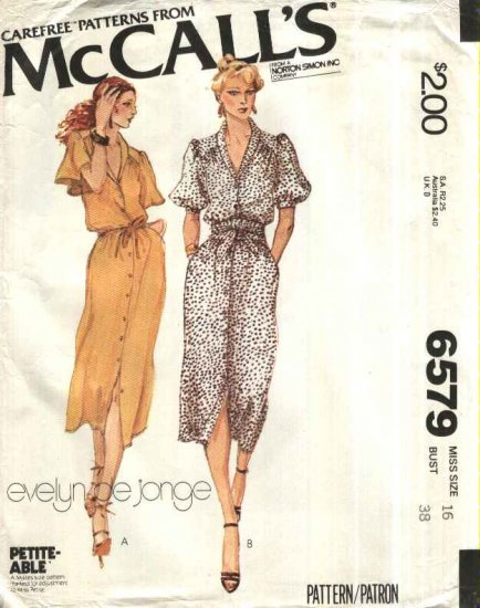 Vintage McCall�s Sewing Pattern 6579 Misses Size 16 Classic Shirtwaist Button Front Straight Dress
