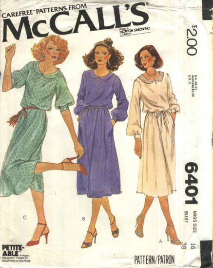McCall�s Sewing Pattern 6401 M6401 Misses Size 16 Pullover Softly Gathered Short Long Sleeve Dress