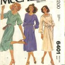 McCall's Sewing Pattern 6401 M6401 Misses Size 16 Pullover Softly Gathered Short Long Sleeve Dress