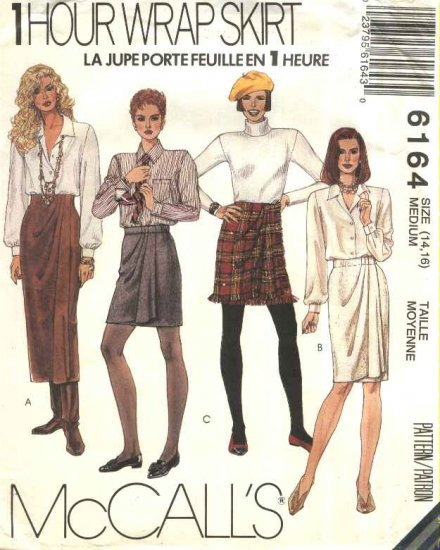 McCall�s Sewing Pattern 6164 Misses Size 14-16 One Hour Front Wrap Skirts Three Lengths