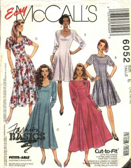 McCall�s Sewing Pattern 6052 Misses Size 14-16-18 Easy Classic Princess Seam Dresses