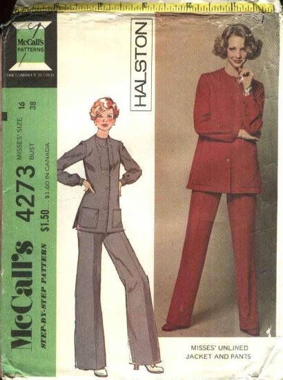 Retro McCall�s Sewing Pattern 4273 Misses Size 16 Halston Unlined Jacket Wide Legged Pants