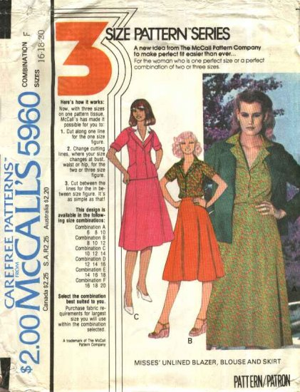 McCall�s Sewing Pattern 5960 Misses Size 16-20 BlazerJacket Button Front Blouse Gored Skirt