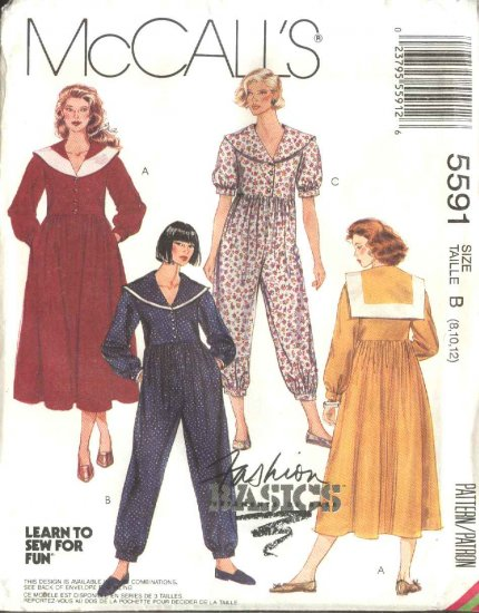 McCall�s Sewing Pattern 5591 Misses Sizes 8-10-12 Basic Sailor Collar Button Front Dress Jumpsuit