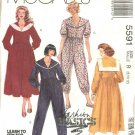 McCall's Sewing Pattern 5591 Misses Sizes 8-10-12 Basic Sailor Collar Button Front Dress Jumpsuit