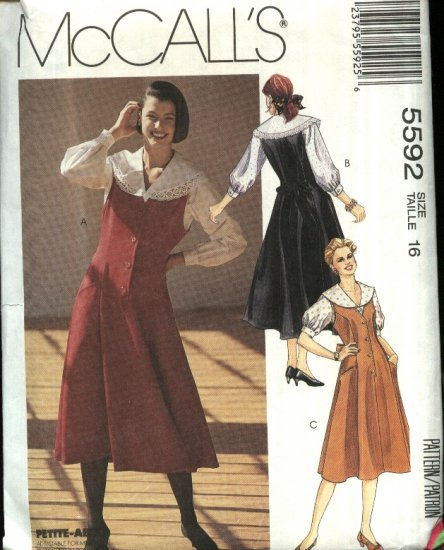 McCall�s Sewing Pattern 5592 Misses Size 12 Princess Seam Button Front Jumper Blouse