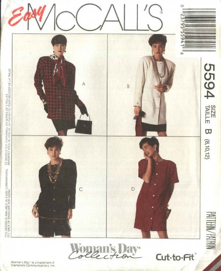 McCall�s Sewing Pattern 5594 Misses Sizes 8-10-12 Easy Button Front Dress Jacket Straight Skirt