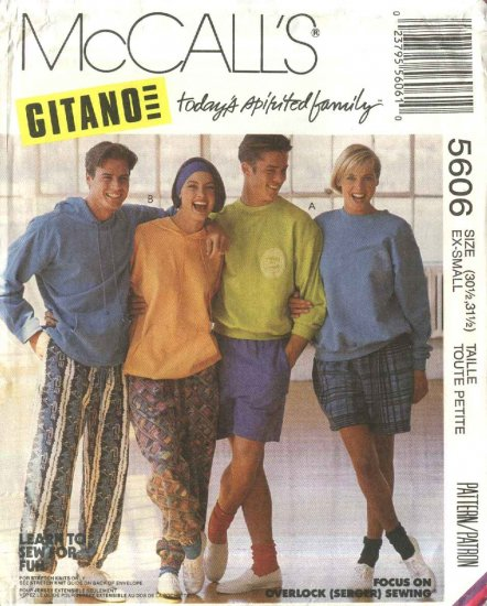 McCall�s Sewing Pattern 5606 Misses Mens Chest Size 36-38 Pants Short Hoodies Sweatshirts