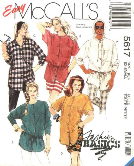 McCall�s Sewing Pattern 5617 Misses Sizes 6-8 Easy Basic Button Front Blouses Big Shirts Tops