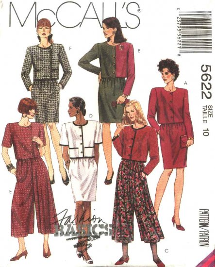 McCall�s Sewing Pattern 5622 Misses Size 18 Basic Two-Piece Dress Jacket Skirt Split-Skirt Gauchos