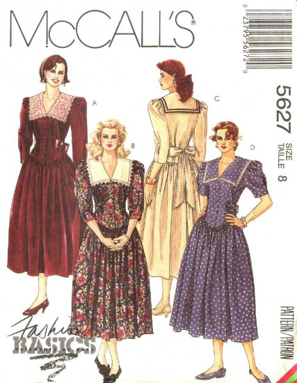 McCall�s Sewing Pattern 5627 M5627 Misses Size 8 Basic Fitted Basque Bodice Full Skirt Dress