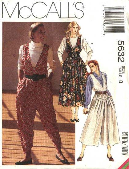 McCall�s Sewing Pattern 5632 Misses Size 8 Jumpsuit Split-Skirt Full Skirt Jumpers