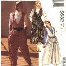 McCall's Sewing Pattern 5632 Misses Size 8 Jumpsuit Split-Skirt Full Skirt Jumpers