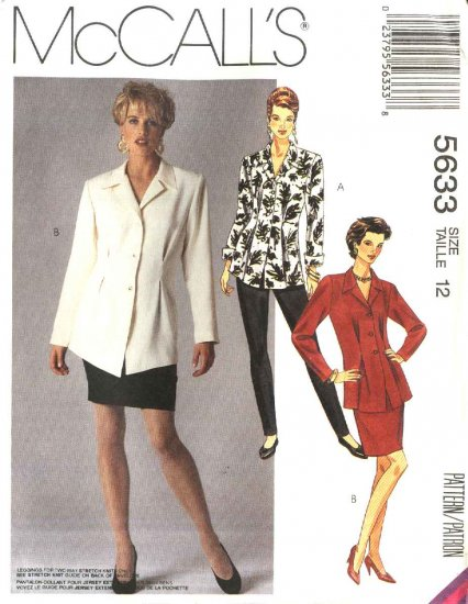 McCall�s Sewing Pattern 5633 Misses Size 12 Button Front Long Sleeve Top Straight Skirt Leggings