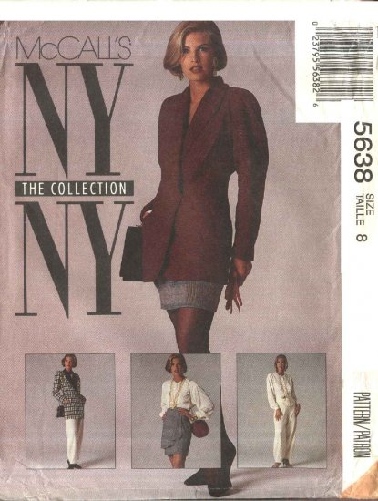 McCall�s Sewing Pattern 5638 Misses Size 8 NYNY Wardrobe Lined Jacket Blouse Pants Skirt