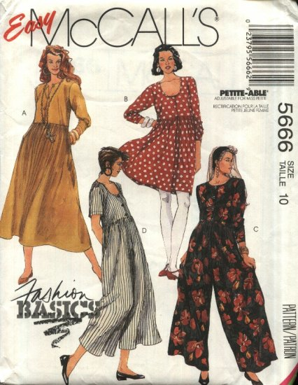 McCall�s Sewing Pattern 5666 Misses Size 10 Easy Basic Pullover Raised Waist Dress Jumpsuit
