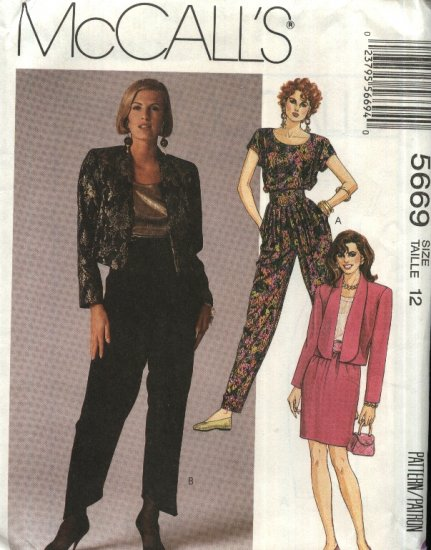 McCall�s Sewing Pattern 5669 Misses Size 12 Unlined Cropped Jacket Top Skirt Harem Pants