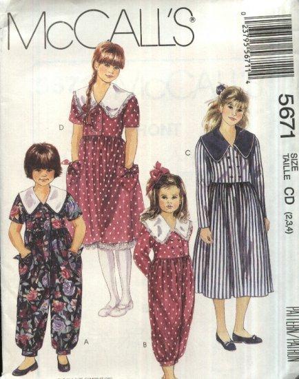 McCall�s Sewing Pattern M5671 5671 Girls Size 2-4 Long Short Sleeve Full Skirt Dress Jumpsuit