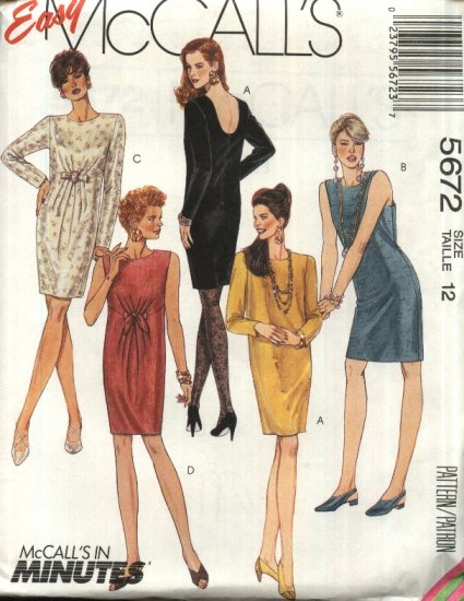 McCall�s Sewing Pattern 5672 Misses Size 16 Easy Chemise Sheath Straight Dresses