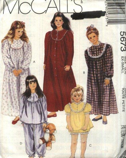 McCall�s Sewing Pattern 5673 Girls Size 2-4 Nightgown Pajamas Top Pants Shorts Robe