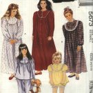 McCall's Sewing Pattern M5673 5673 Girls Size 2-4 Nightgown Pajamas Top Pants Shorts Robe