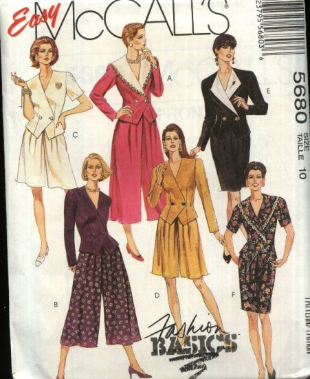 McCall�s Sewing Pattern 5680 Misses Size 12 Easy Basic Two-Piece Dress Suit Split-Skirt Skirt Top