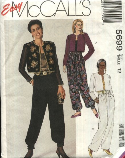 McCall�s Sewing Pattern 5699 Misses Size 12 Easy Lined Cropped Jacket Camisole Loose Fitting Pants