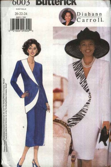 Butterick Sewing Pattern 6003 Misses Size 20-22-24 Easy Diahann Carroll Jacket Straight Skirt Suit