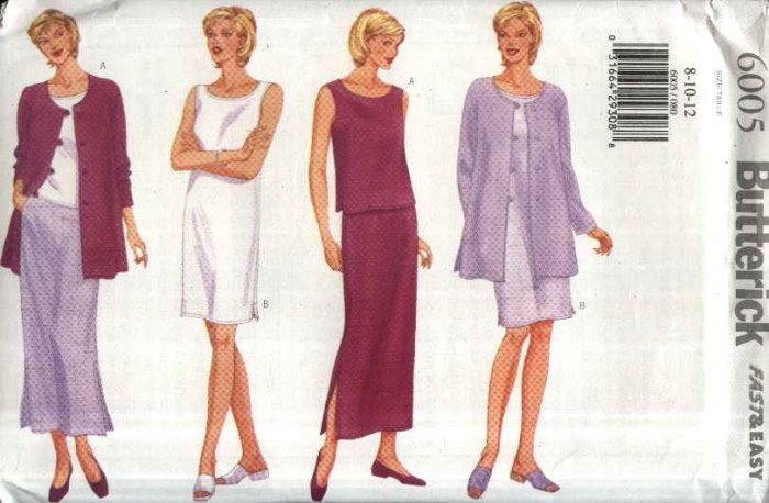 Butterick Sewing Pattern 6005 B6005 Misses Size 8-12 Easy Classic Wardrobe Dress Top Skirt Jacket