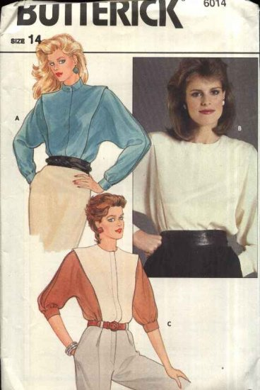 Retro Butterick Sewing Pattern 6014 Misses Size 14 Short Long Dolman Sleeve Blouse