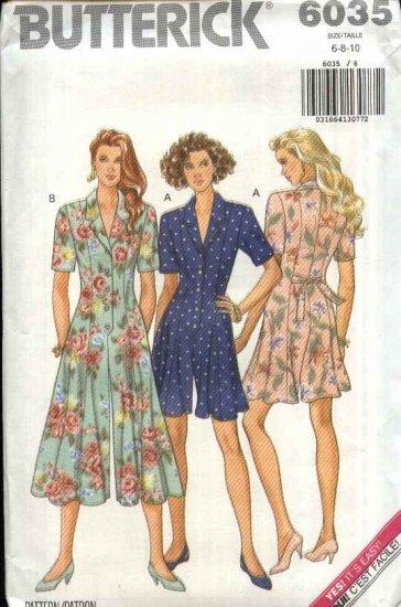 Butterick Sewing Pattern 6035 Misses Size 6-8-10 Easy Culotte Split Skirt Gaucho Dress