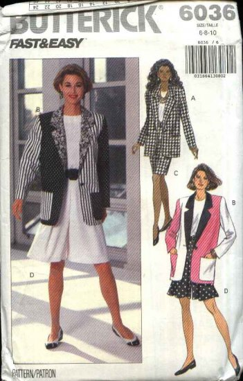 Butterick Sewing Pattern 6036 Misses Size 6-8-10 Easy Wardrobe Jacket Top Skirt Shorts Culottes