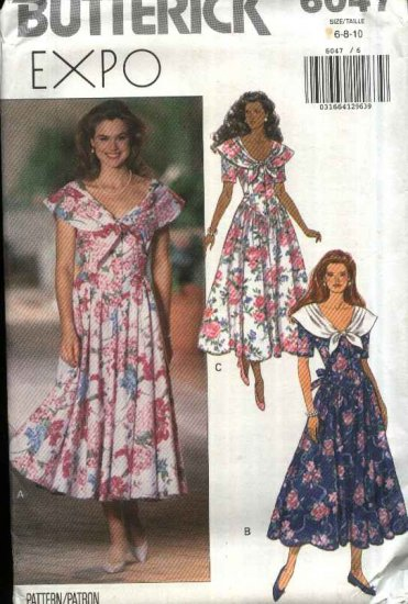 Butterick Sewing Pattern 6047 Misses Size 6-8-10 Full Skirt Basque Bodice Dress