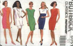 Butterick Sewing Pattern 6051 Misses Size 6-10 Easy Classic Summer Straight Dress Tunic Top Skirt