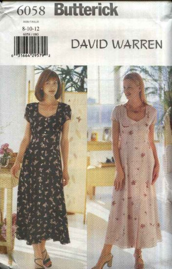 Butterick Sewing Pattern 6058 Misses Size 8-10-12 Easy Button Front Raised Waist Lined Dress