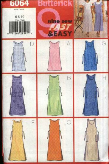 Butterick Sewing Pattern 6064 B6064 Misses Size 6-10 Easy Pullover Zipper Back Jumper