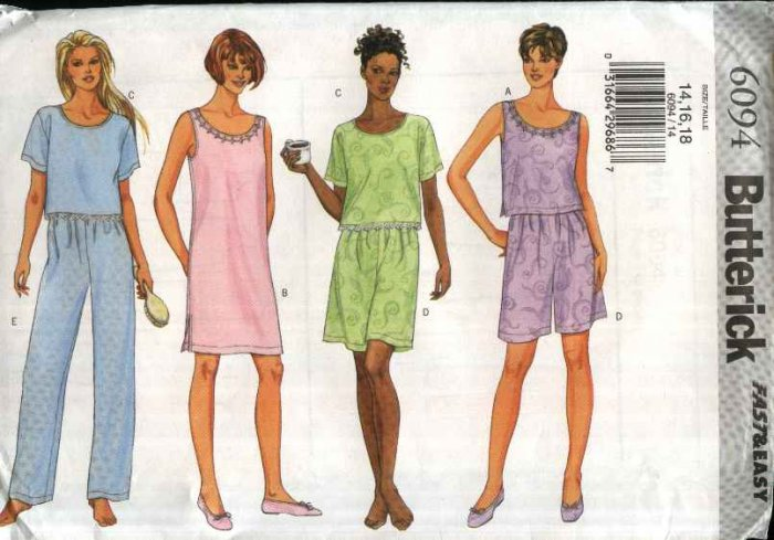 Butterick Sewing Pattern 6094 Misses Size 14-16-18 Easy Summer Sleepwear Nighgown Pajamas