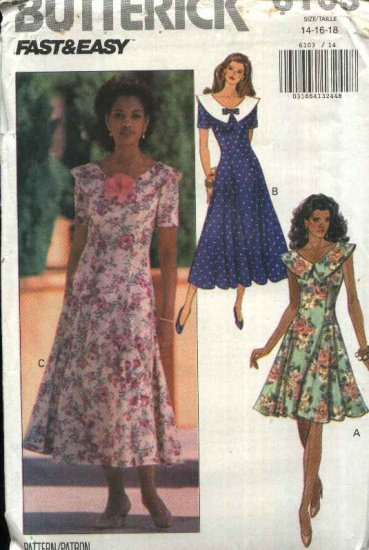 Butterick Sewing Pattern 6103 Misses Size 14-16-18 Easy Princess Seam Flared Skirt Dress