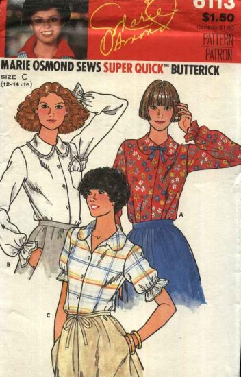 Butterick Sewing Pattern 6113 Misses Size 12-16 Marie Osmond Button Front Blouse Shirt