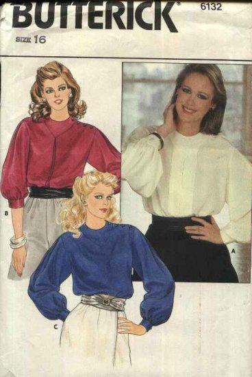Butterick Sewing Pattern 6132 Misses Size 16 Shoulder Button Closure Long Sleeve Blouses