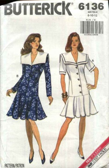 Butterick Sewing Pattern 6136 Misses Size 8-12 Easy Button Front Dropped Waist Flared Skirt Dress